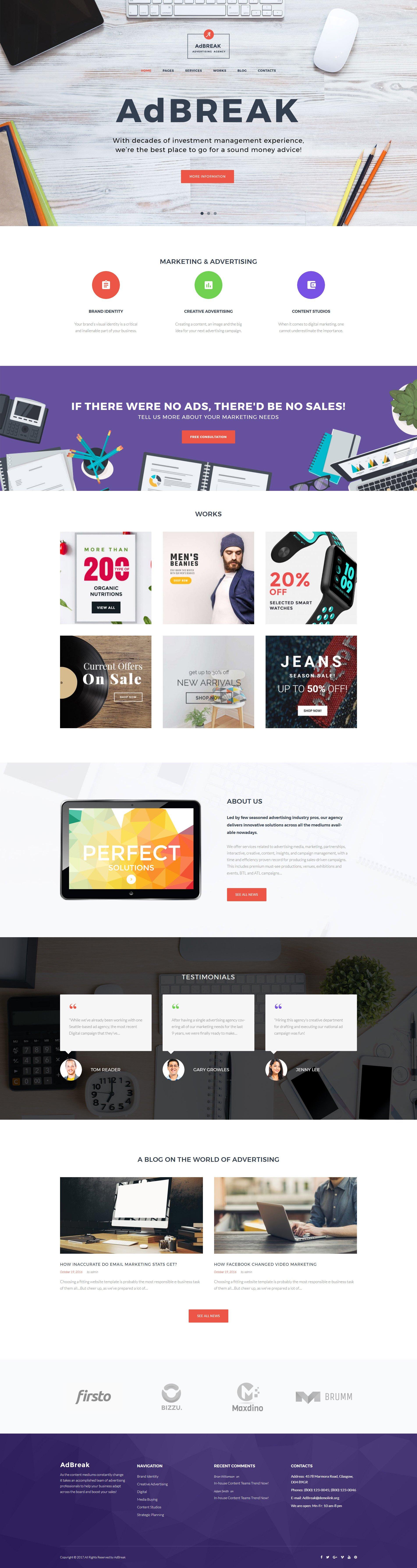 Responsivt AdBreak - Advertising Company WordPress-tema #63502 - skärmbild