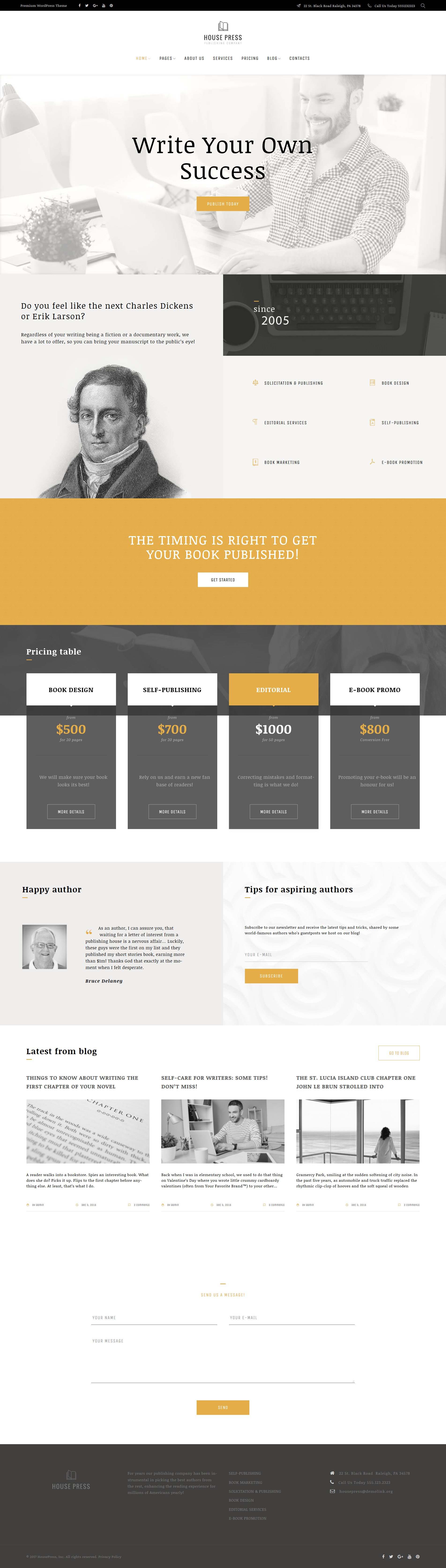 Responsivt House Press - Publishing Company WordPress-tema #63528