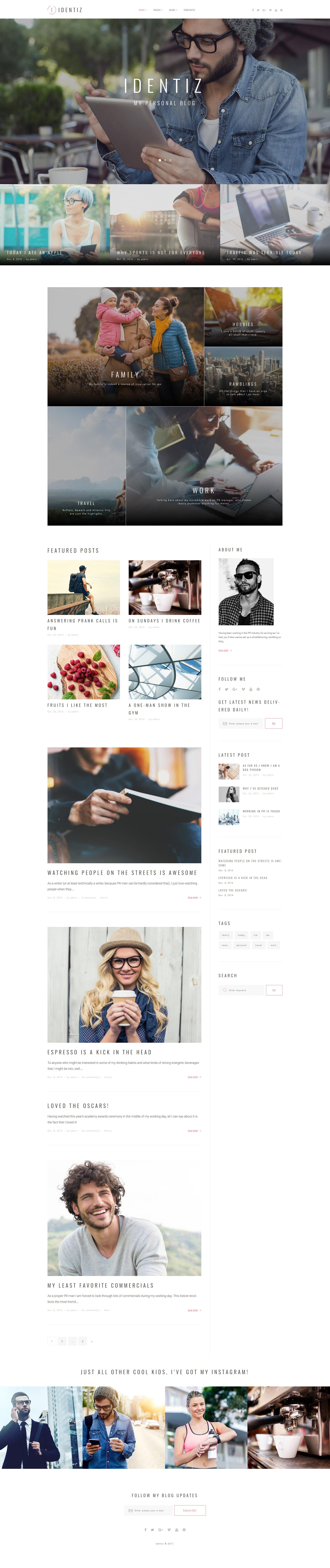 Responsivt Identiz - Personal Blog WordPress-tema #63592 - skärmbild