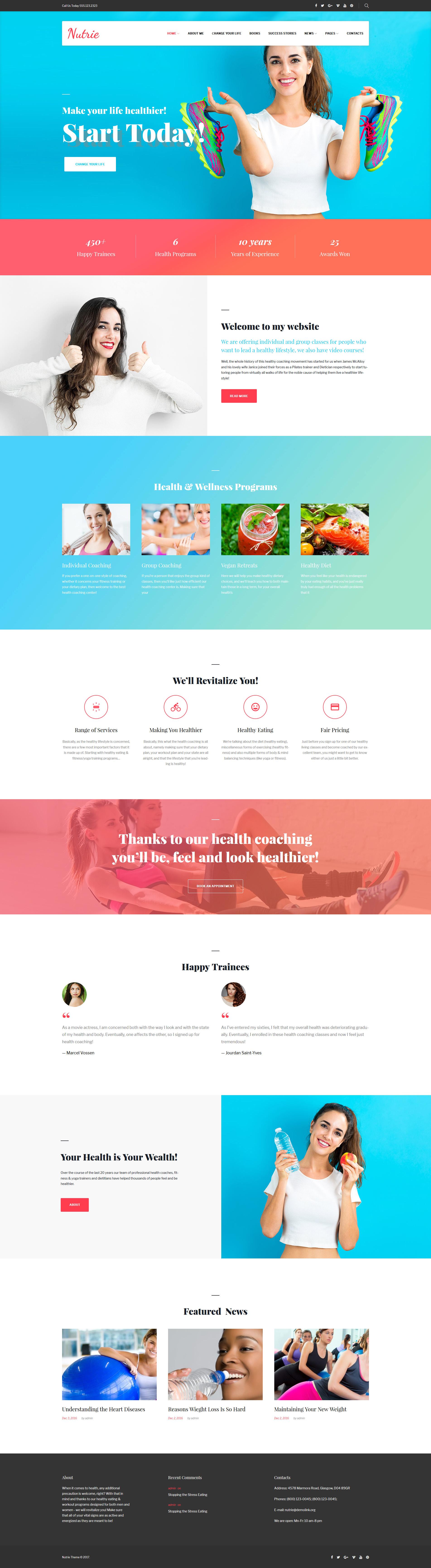 Responsywny motyw WordPress Nutrie - Health Coach #63524 - zrzut ekranu