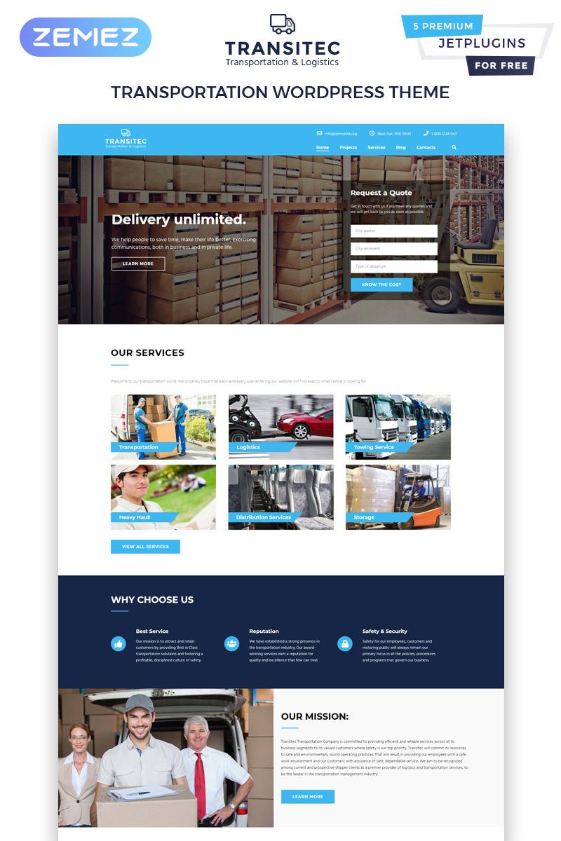 Responsywny motyw WordPress Transitec - Transportation Multipurpose Minimal Elementor #63597