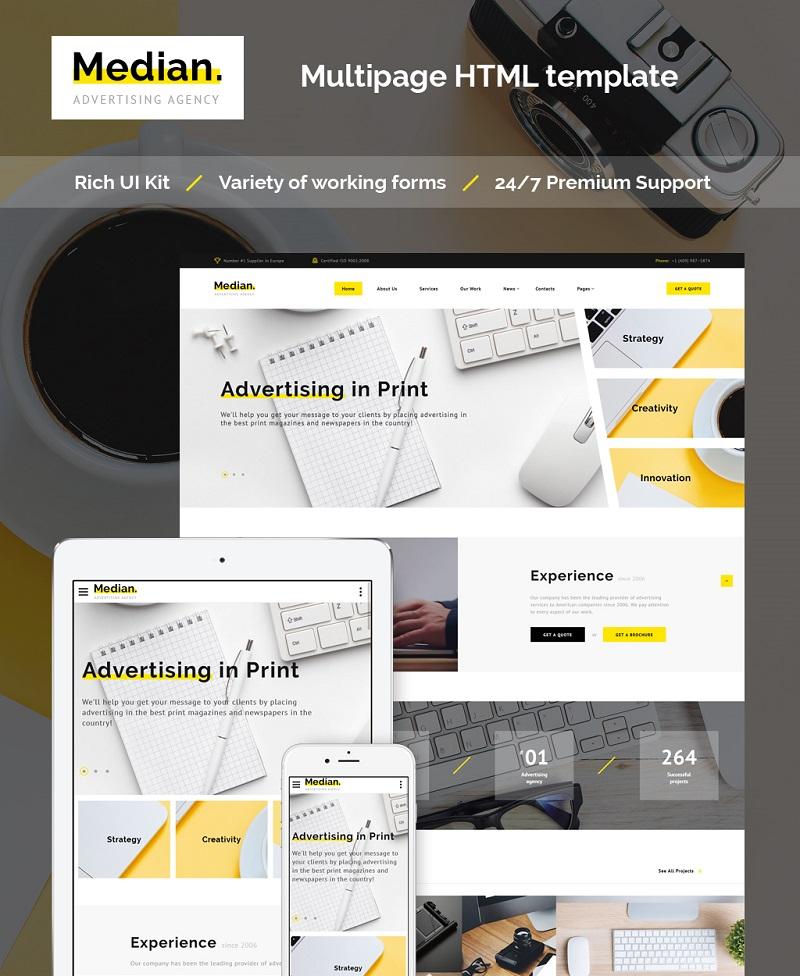 Responsywny szablon strony www Median - Advertising Agency HTML5 #63506
