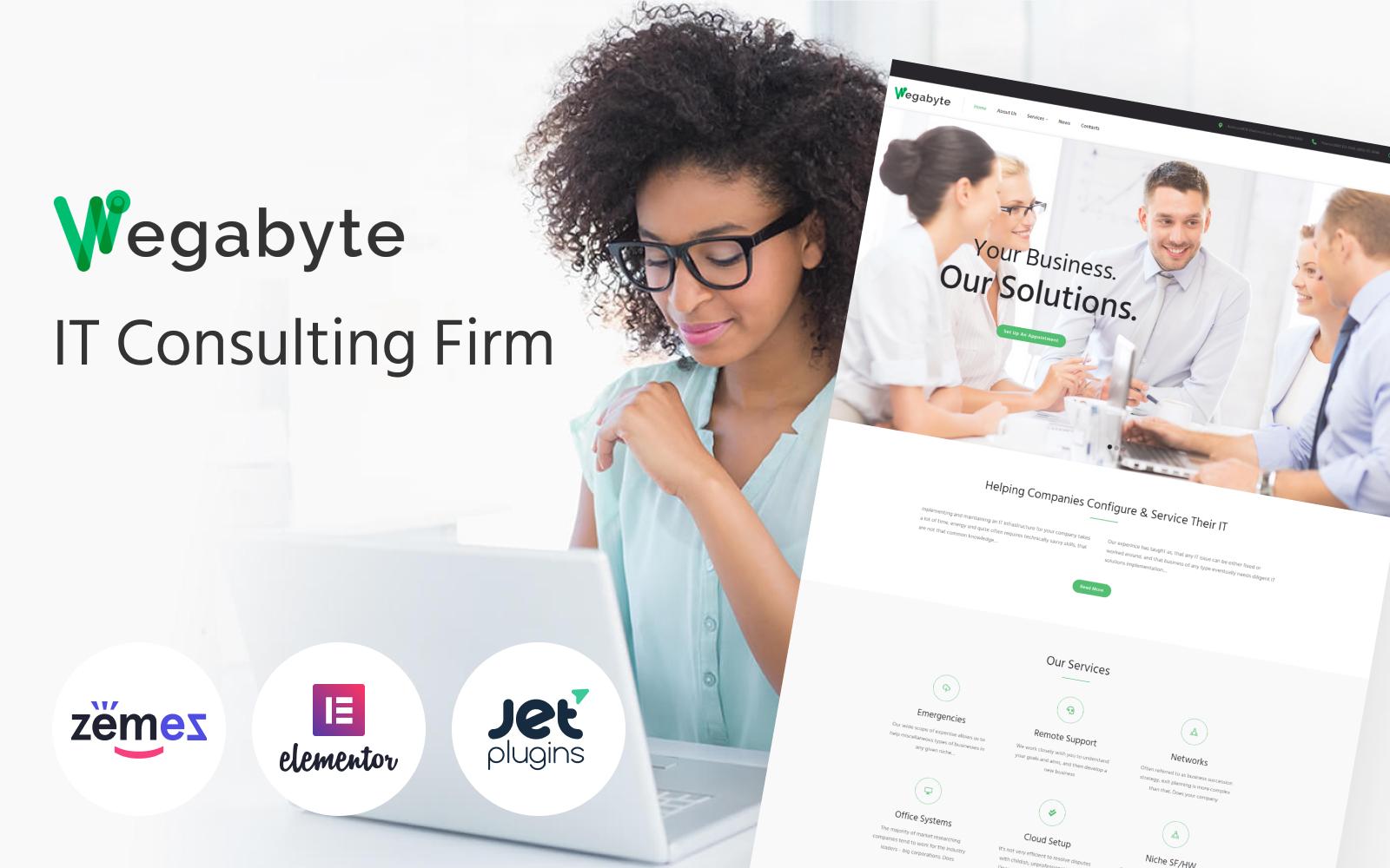 """Responzivní WordPress motiv """"WegaByte - Elementor-based IT Consulting"""" #63550"""