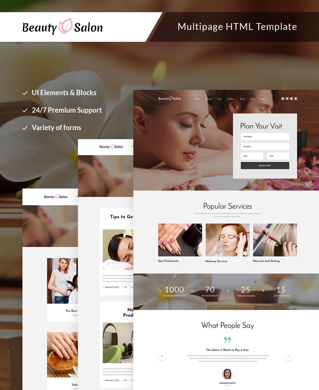 Reszponzív Beauty Salon Responsive Multipage Weboldal sablon 63505