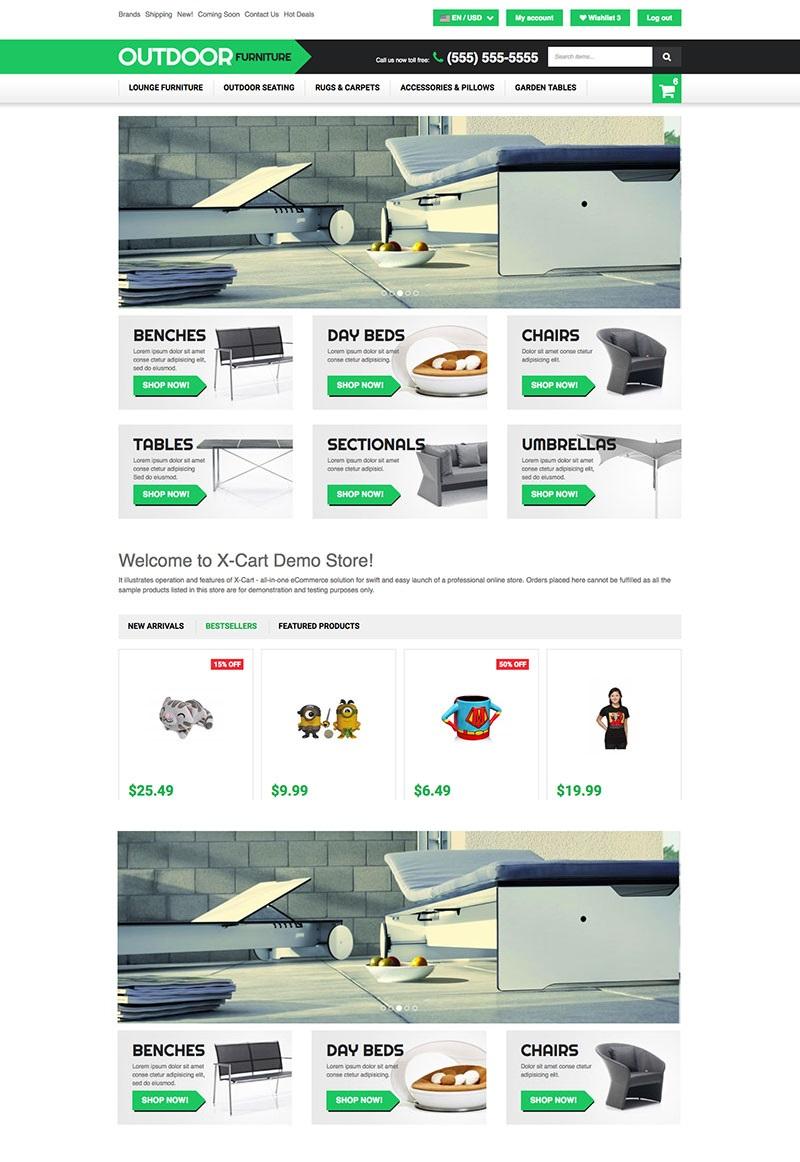 Reszponzív Outdoor Furniture X-Cart sablon 63576