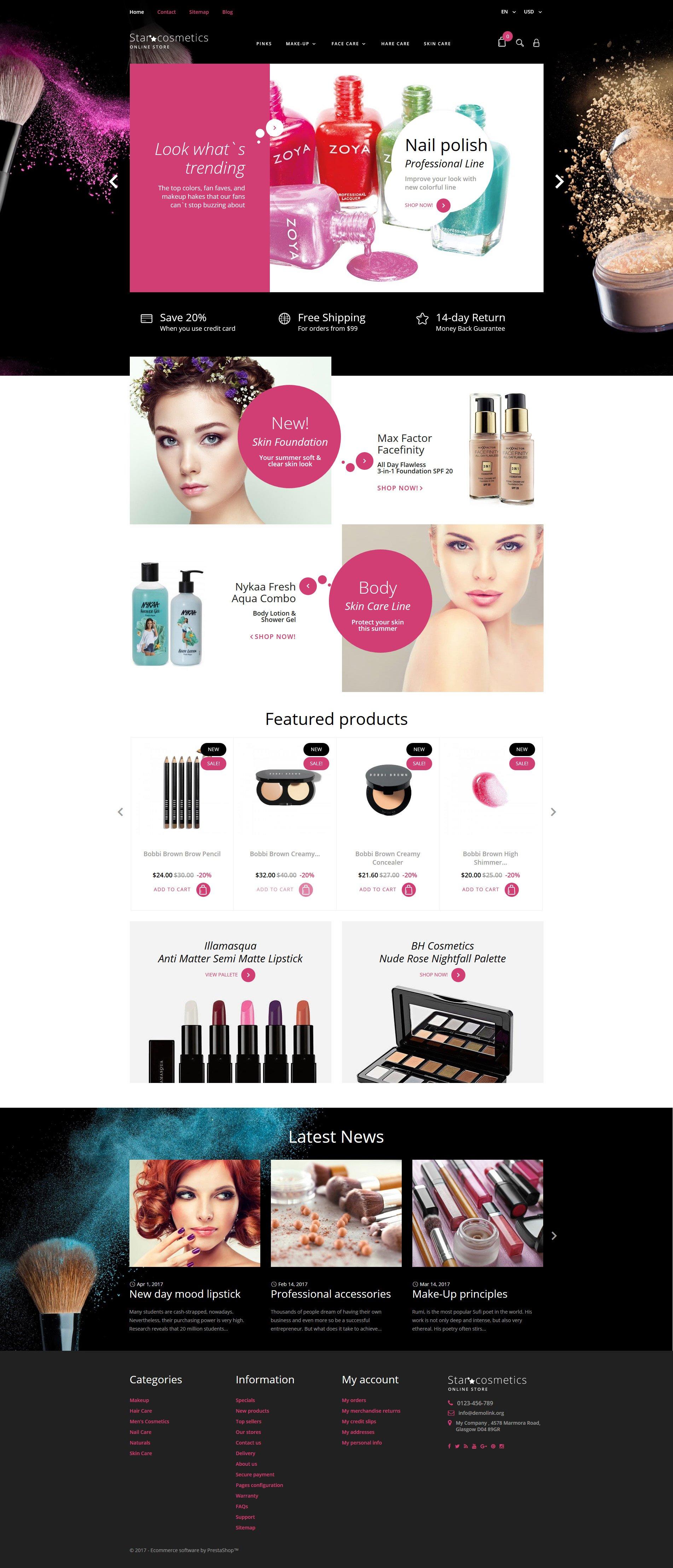 Reszponzív Star Cosmetics - Beauty Items Responsive PrestaShop sablon 63545 - képernyőkép