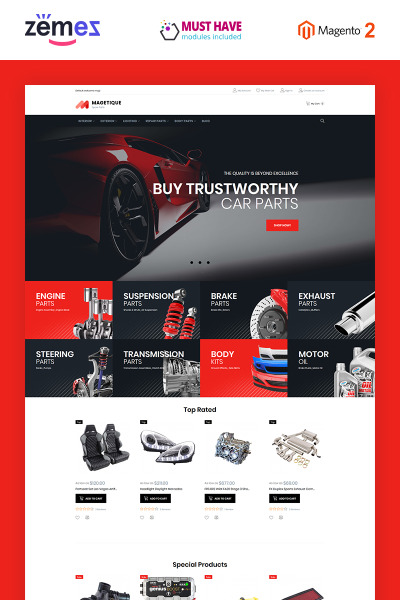 Retina-Ready Magento шаблон для интернет-магазина автозапчастей #63515
