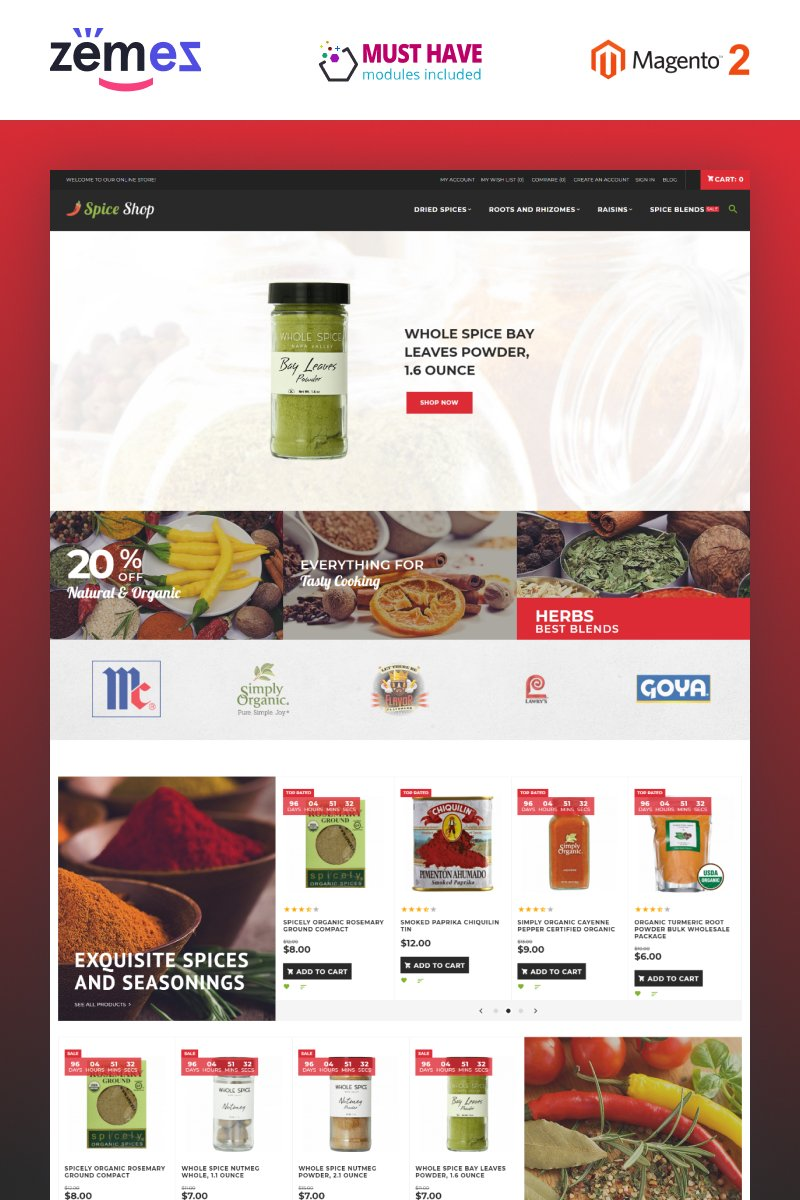 """""""Spice Shop - Seasonings and Herbs Store Responsive"""" Responsive Magento Thema №63588"""