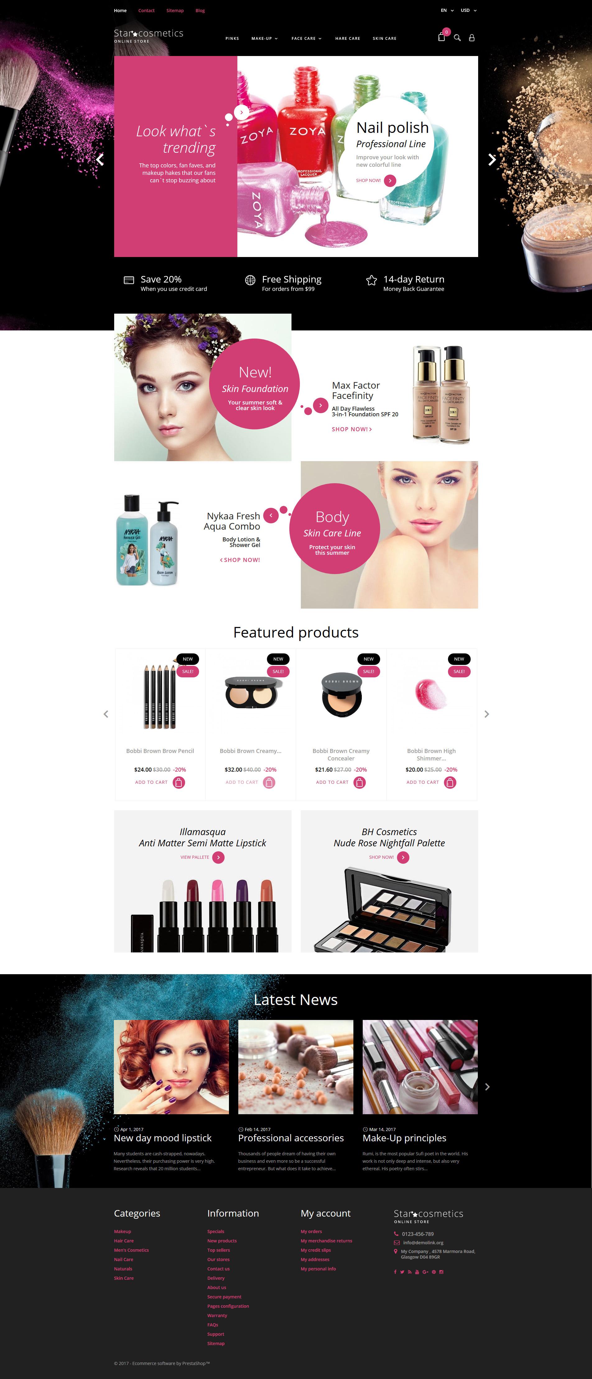 """""""Star Cosmetics - Produits de Beauté"""" thème PrestaShop adaptatif #63545 - screenshot"""