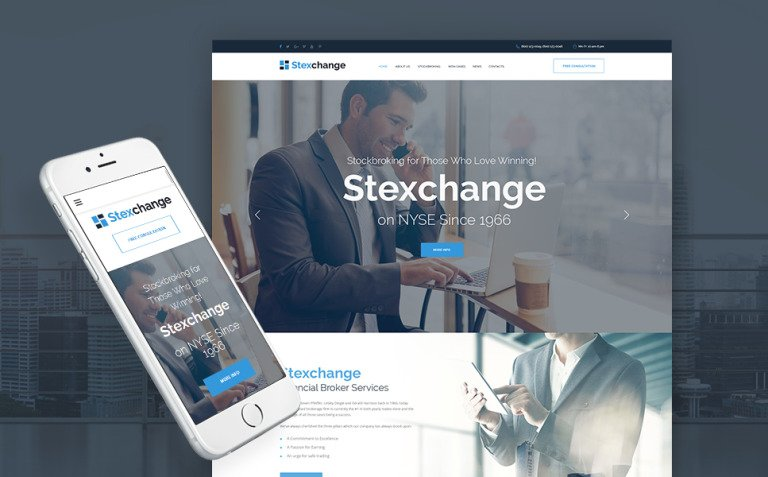 Stexchange - Financial Broker Services Responsive WordPress Theme New Screenshots BIG
