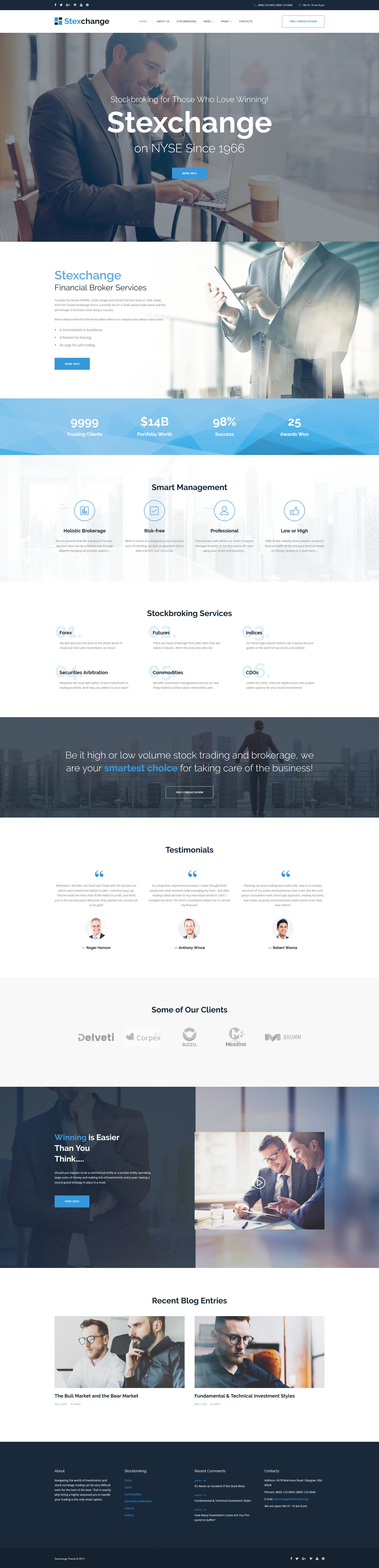 Stexchange - Financial Broker Services Responsive WordPress Theme - screenshot