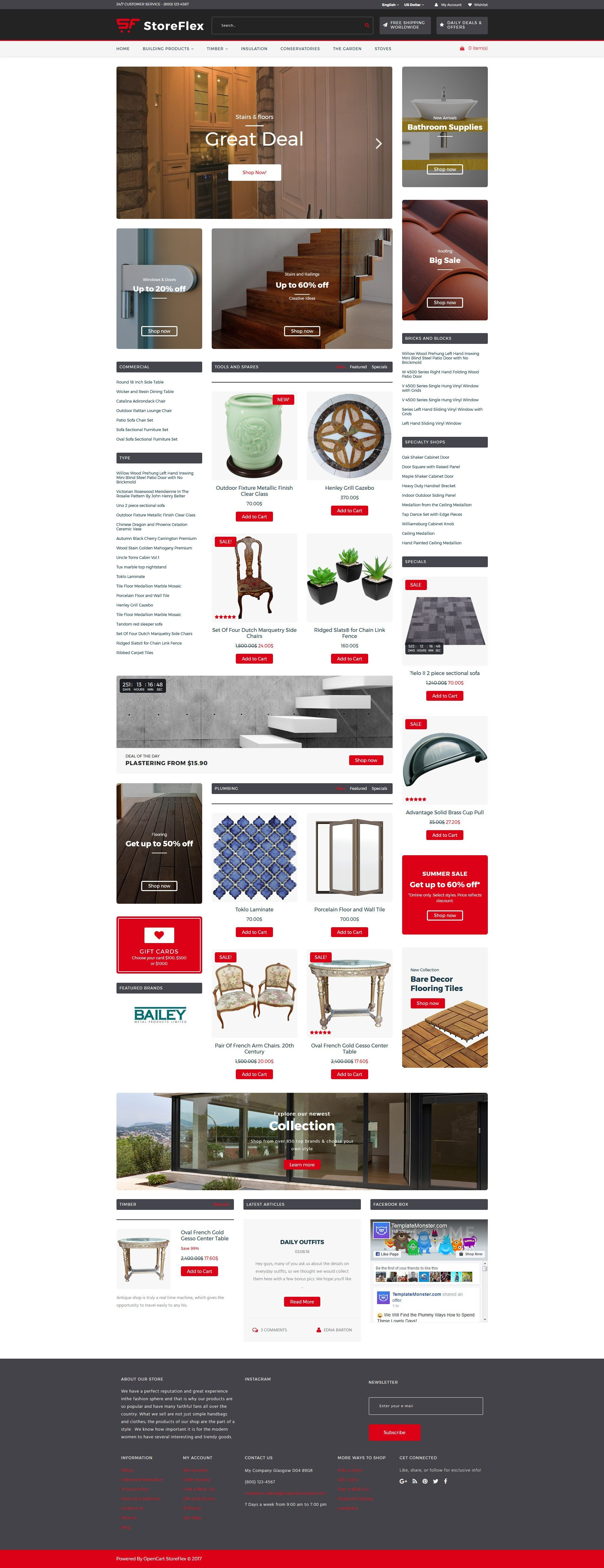 """StoreFlex - Building Materials Responsive"" 响应式OpenCart模板 #63567 - 截图"