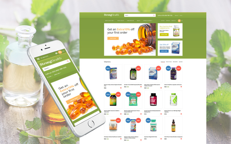 StrongHealth - Drugstore OpenCart Template New Screenshots BIG