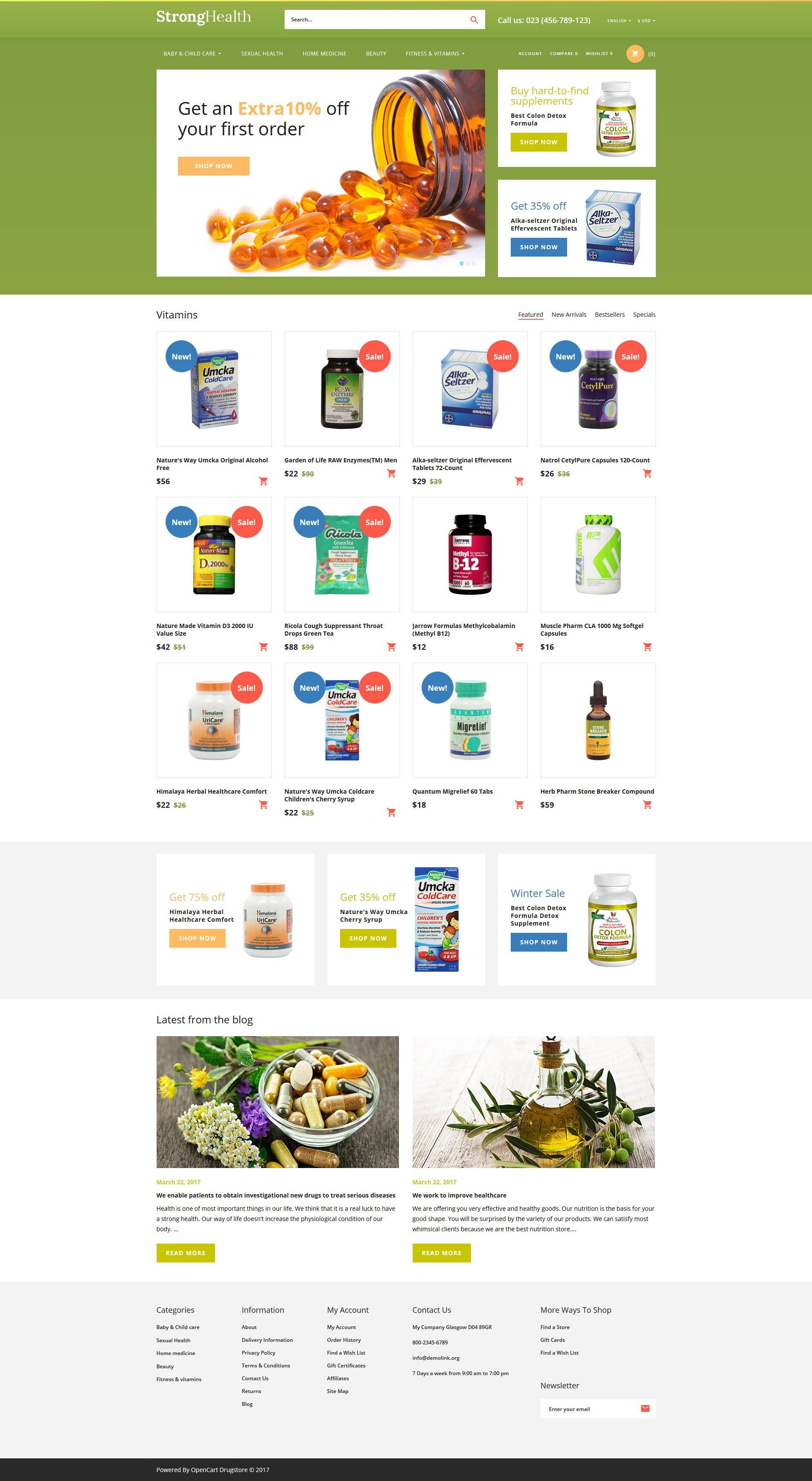 StrongHealth - Drugstore OpenCart Template - screenshot