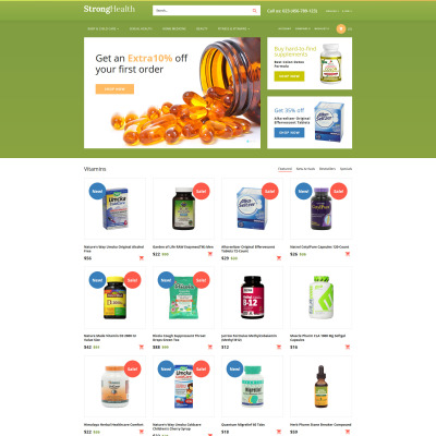 Drug store templates templatemonster for Opencart bookstore template