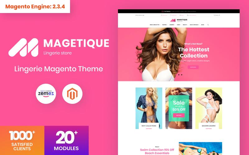 """Tema Magento Responsive #63516 """"Magetique - Lingerie"""""""