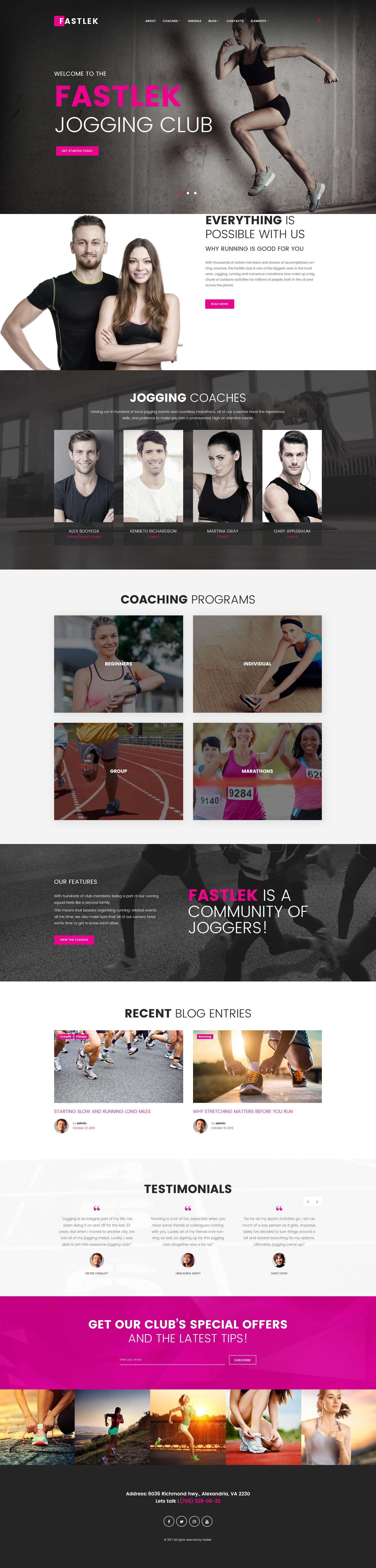 "Tema WordPress Responsive #63582 ""Fastlek - Running Club & Coaching"""