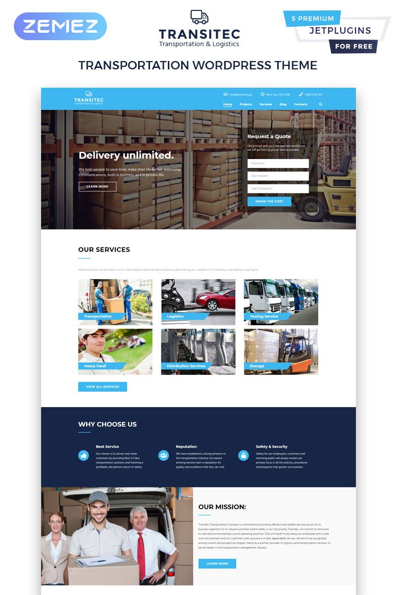 "Tema WordPress Responsive #63597 ""Transitec - Transportation Multipurpose Minimal Elementor"""