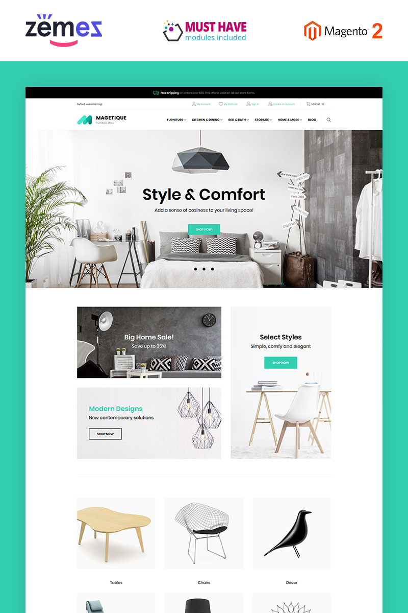 "Template Magento Responsive #63514 ""Magetique - Furniture"""