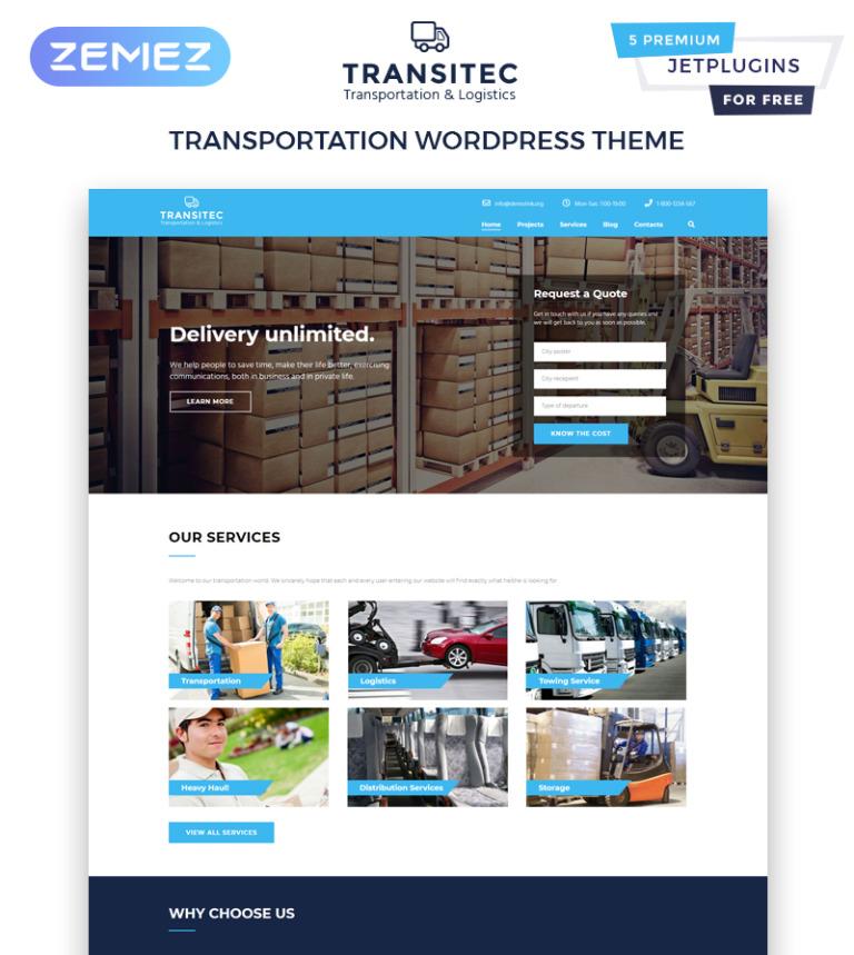 Transitec - Transportation & Logistics WordPress Theme