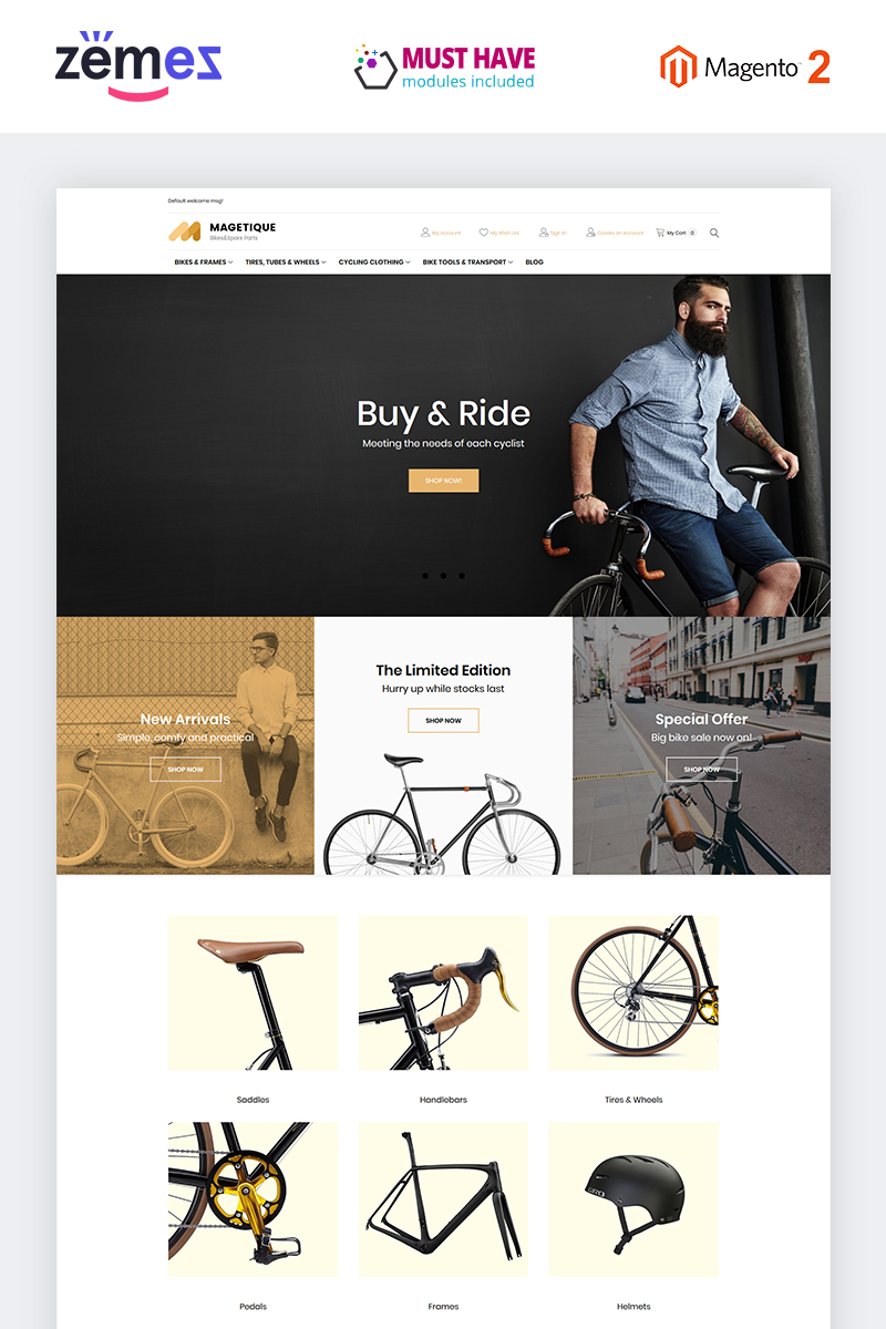"""Vélos et équipement de vélo"" thème Magento adaptatif #63513"