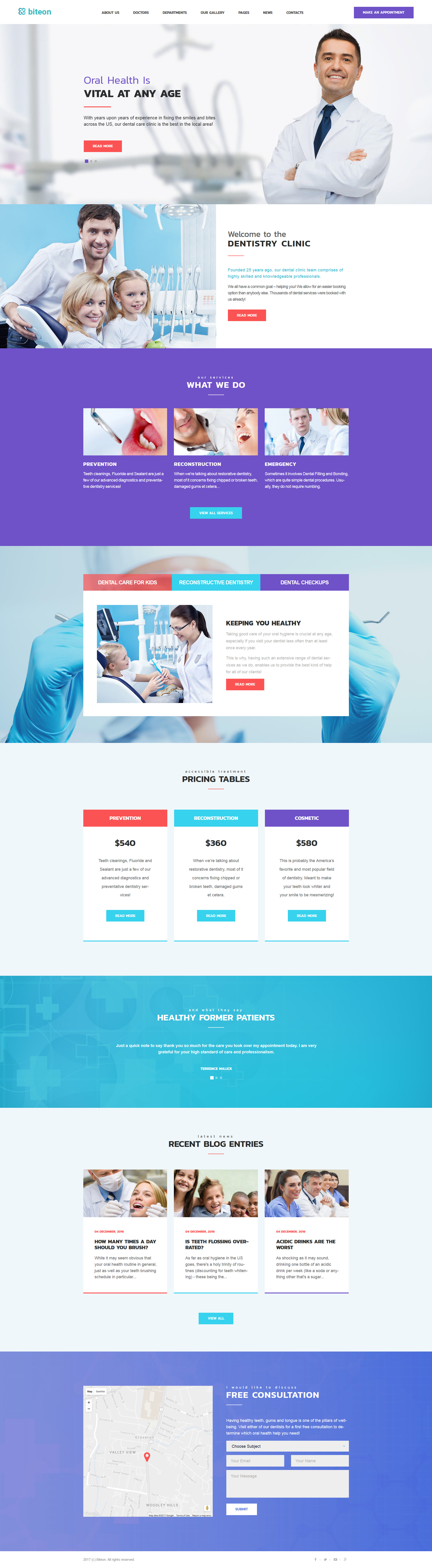 Шаблон Biteon сайта на тему стоматология #63546