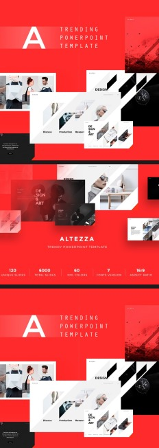 red powerpoint template | templatemonster, Powerpoint templates