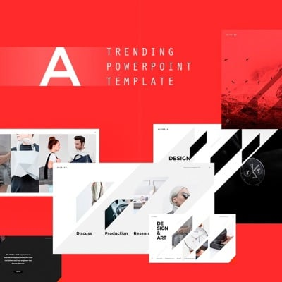 red powerpoint template templatemonster