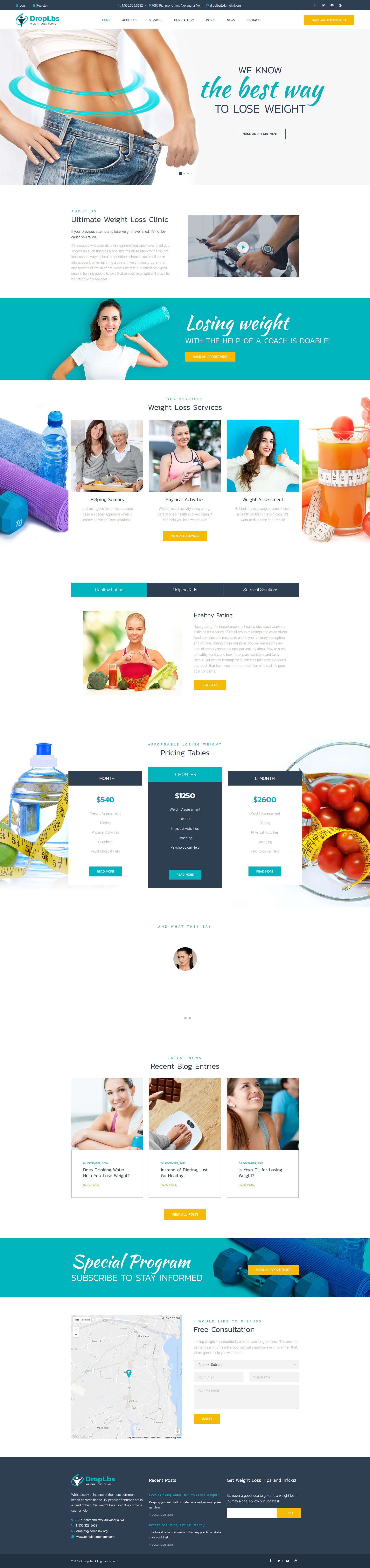 DropLbs - Weight Loss Clinic Responsive WordPress Theme - screenshot