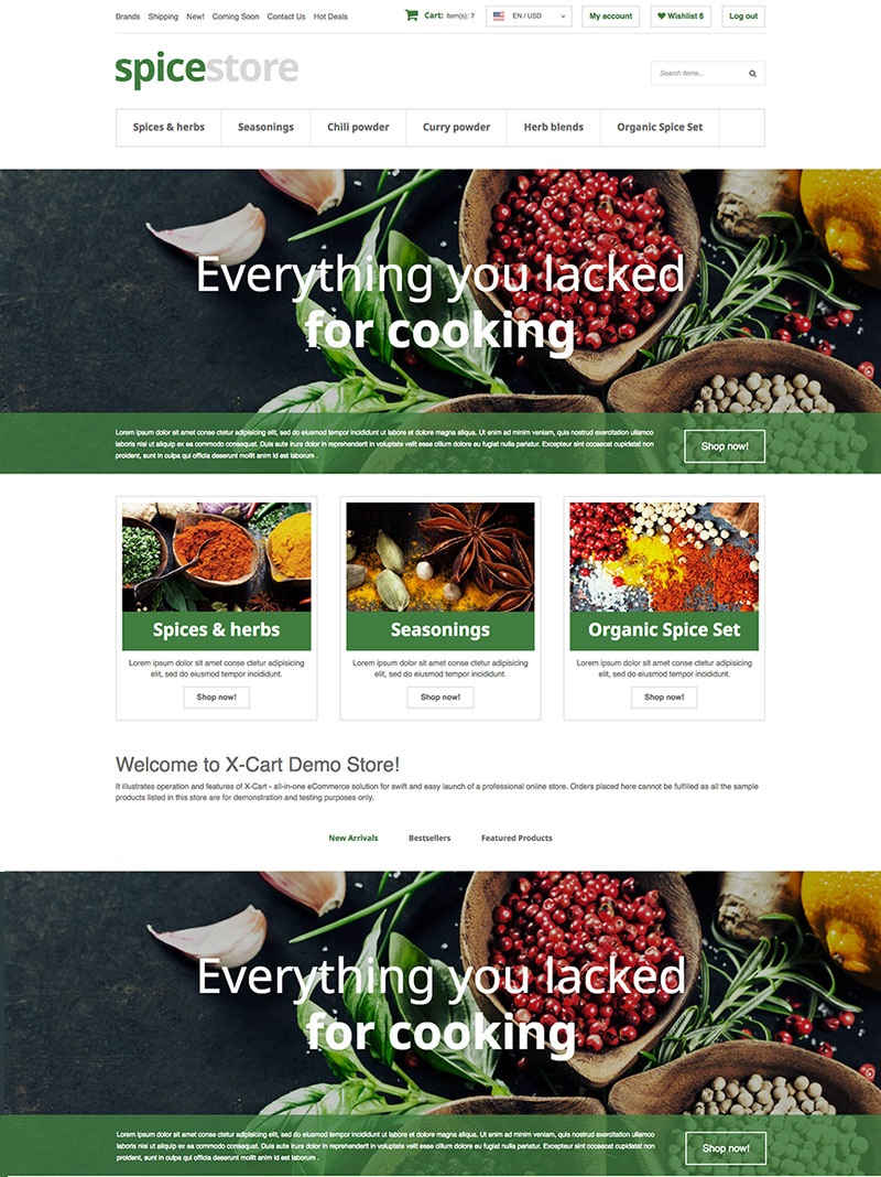 """Grocery Store"" Responsive X-Cart Template №63664"