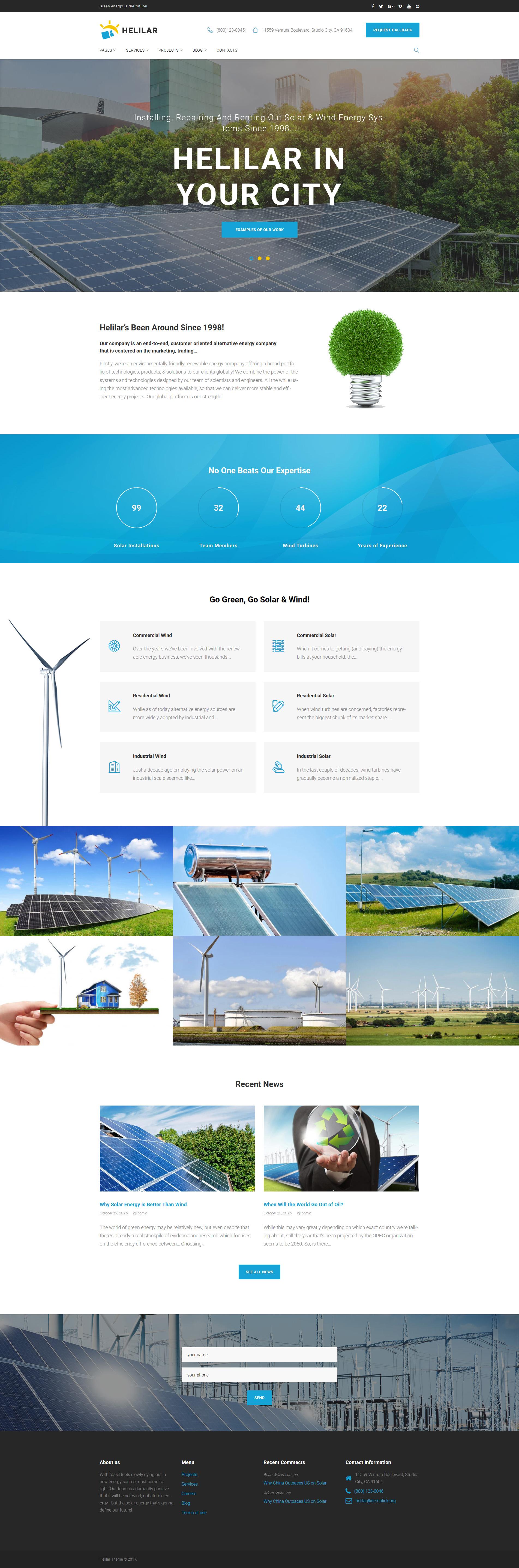 """""""Helilar - Solar & Renewable Energy"""" thème WordPress adaptatif #63663"""