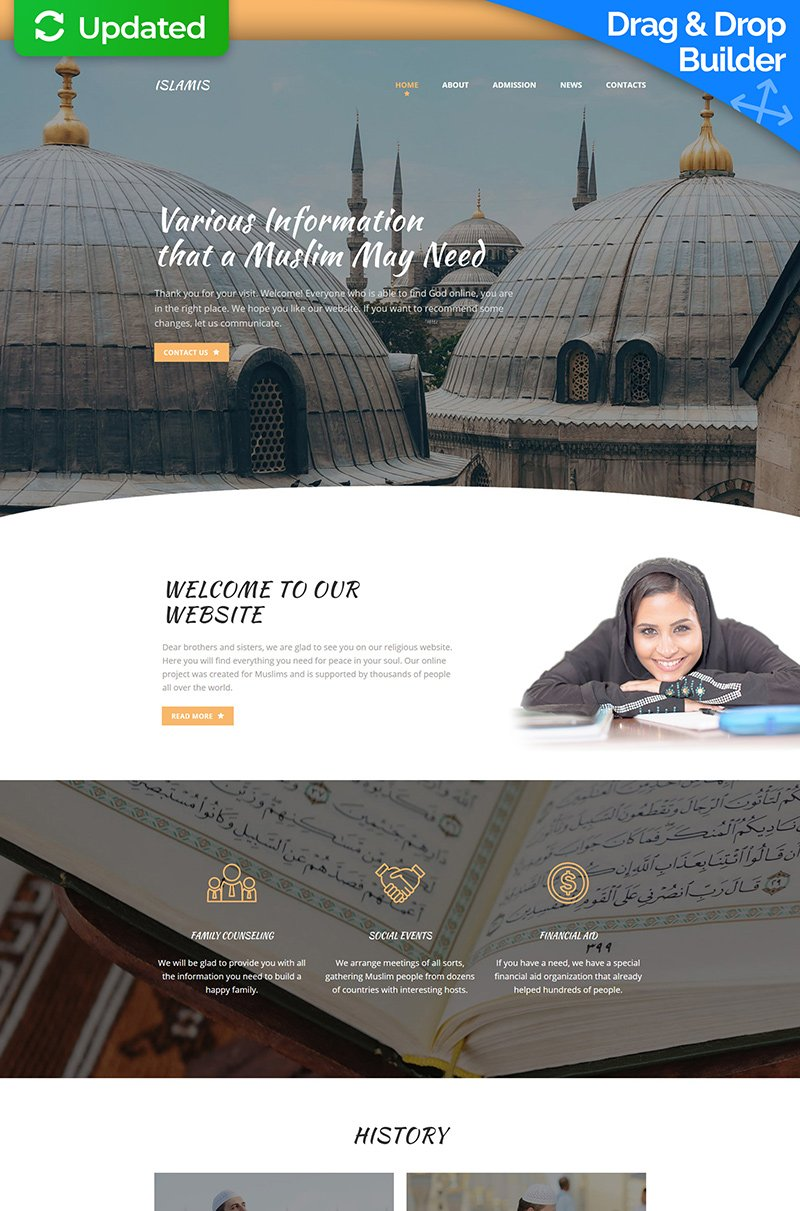 Islamic Social Center Responsive Moto CMS 3 Template - screenshot