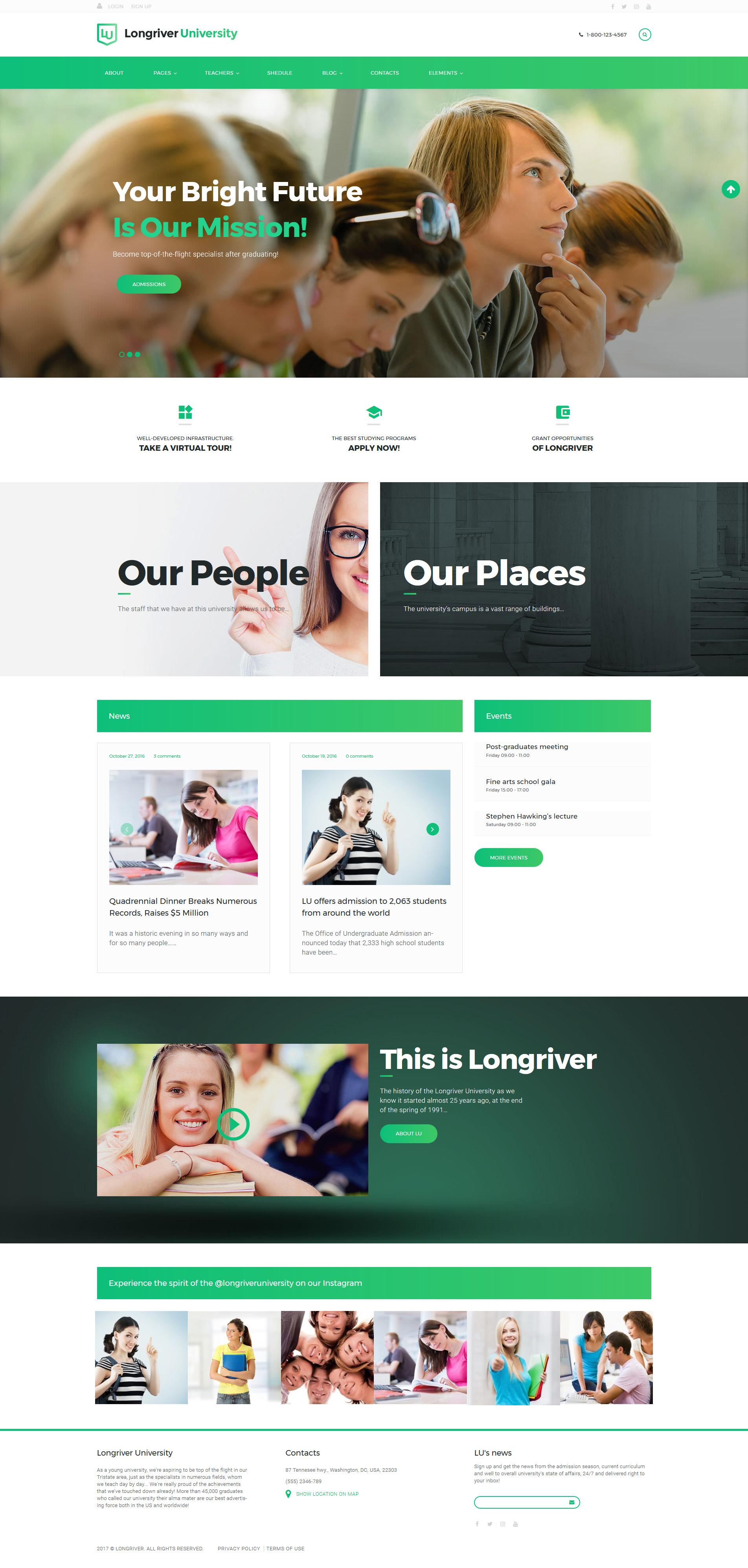 """Longriver University Responsive"" Responsive WordPress thema №63613"