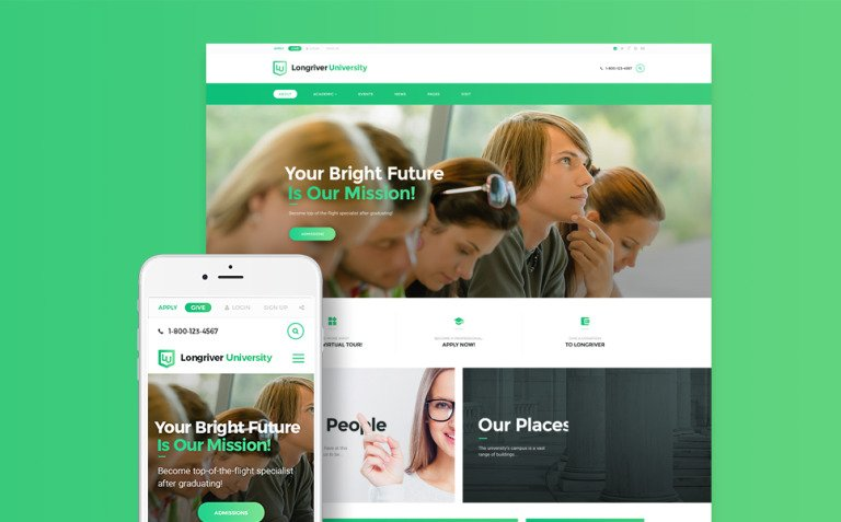 Longriver University Responsive WordPress Theme New Screenshots BIG