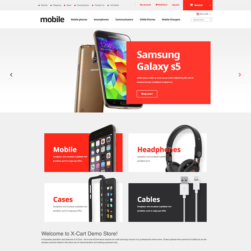 """Mobile Phones"" X-Cart Template №63665"