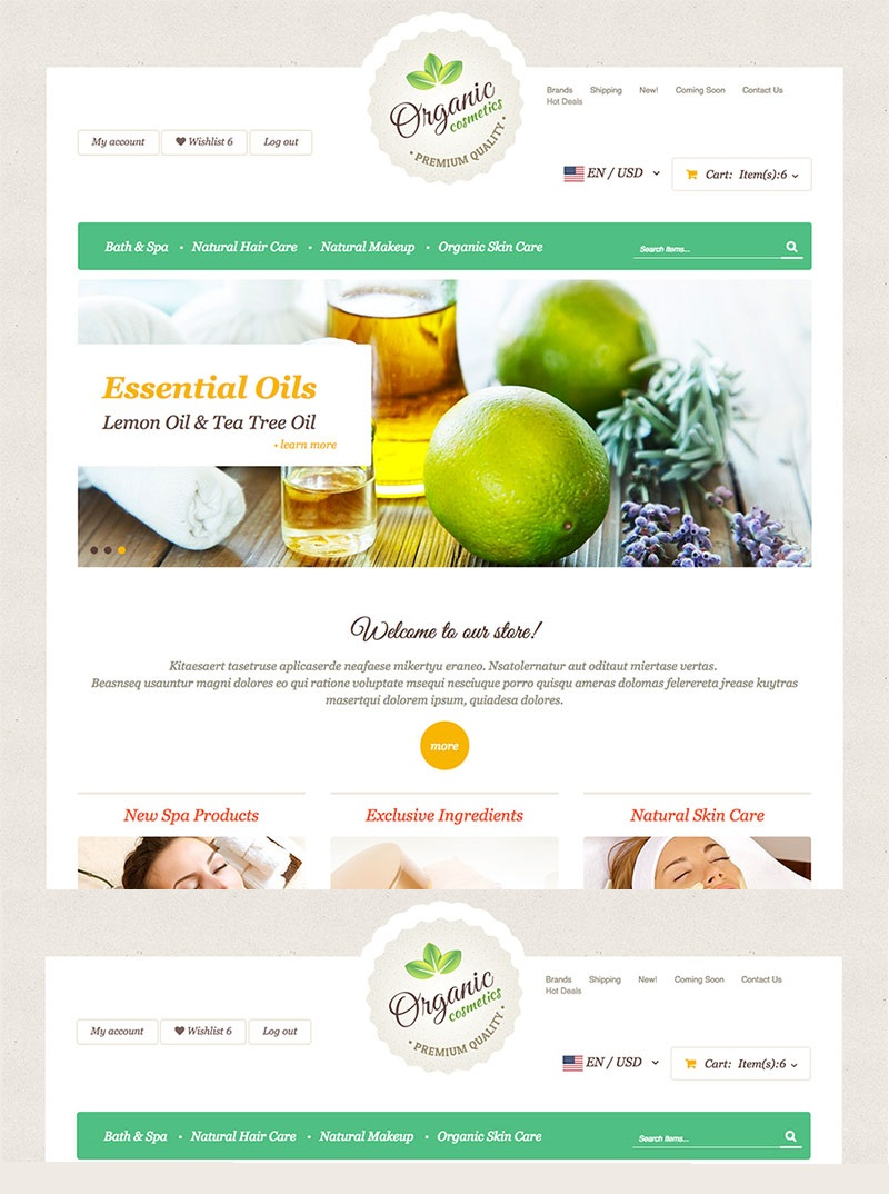 Responsivt Organic Cosmetics X-Cart Template #63670 - skärmbild