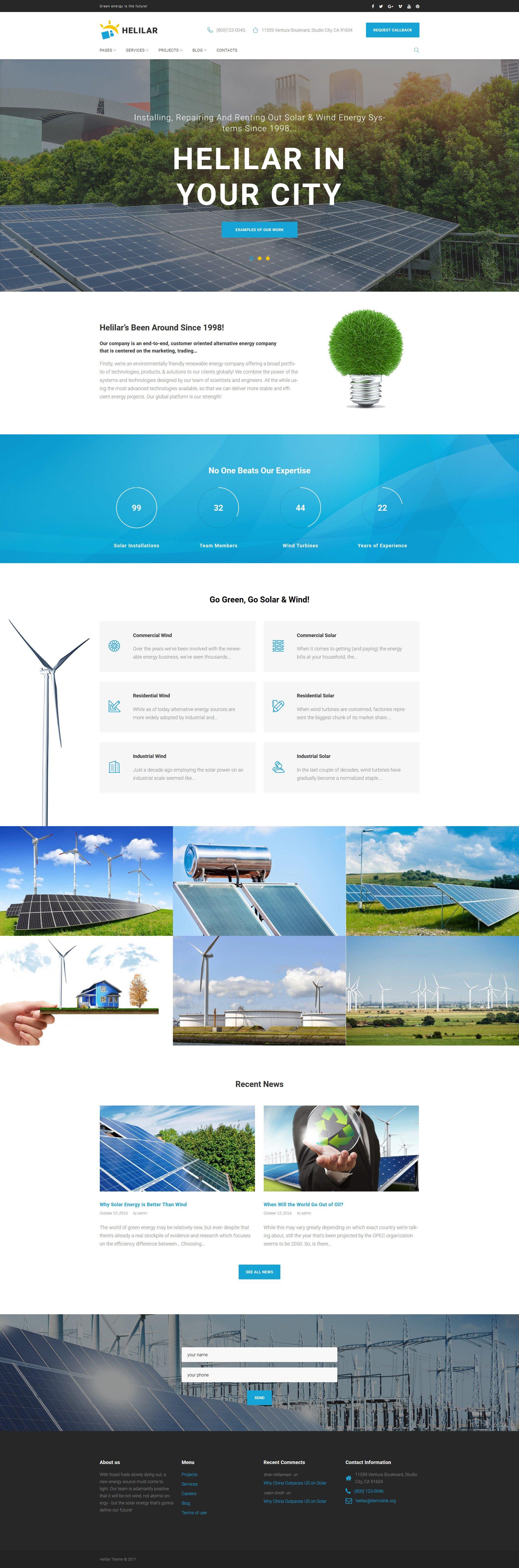 Responsywny motyw WordPress Helilar - Solar & Renewable Energy #63663
