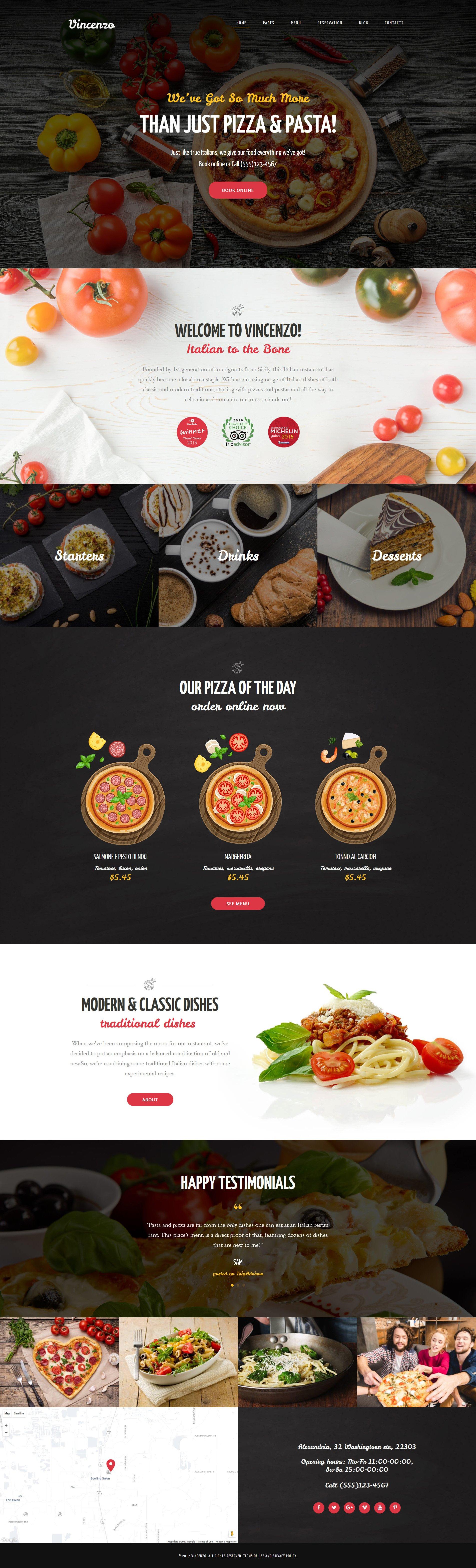 Responsywny motyw WordPress Vincenzo - Delicious Pizza Restaurant Responsive #63633