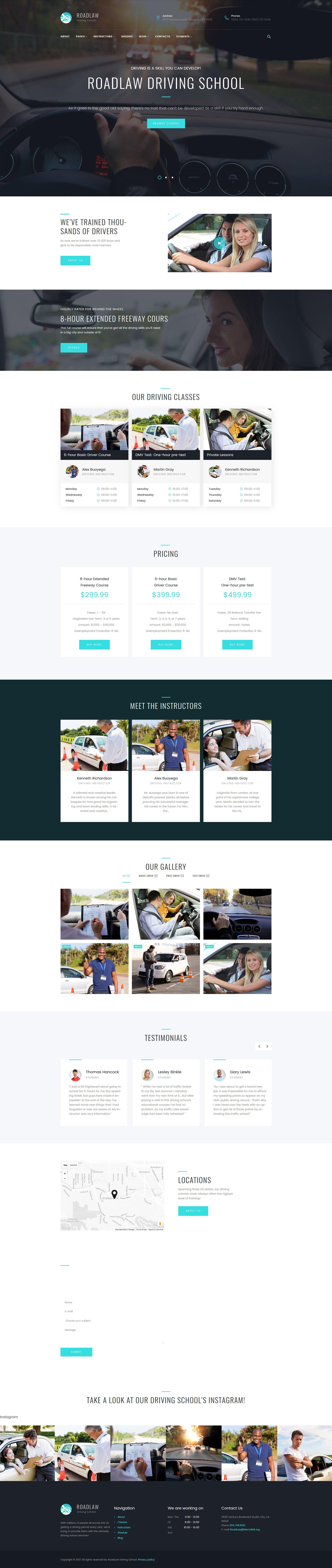 """RoadLaw - Driving School Responsive WordPress Theme"" 响应式WordPress模板 #63631"