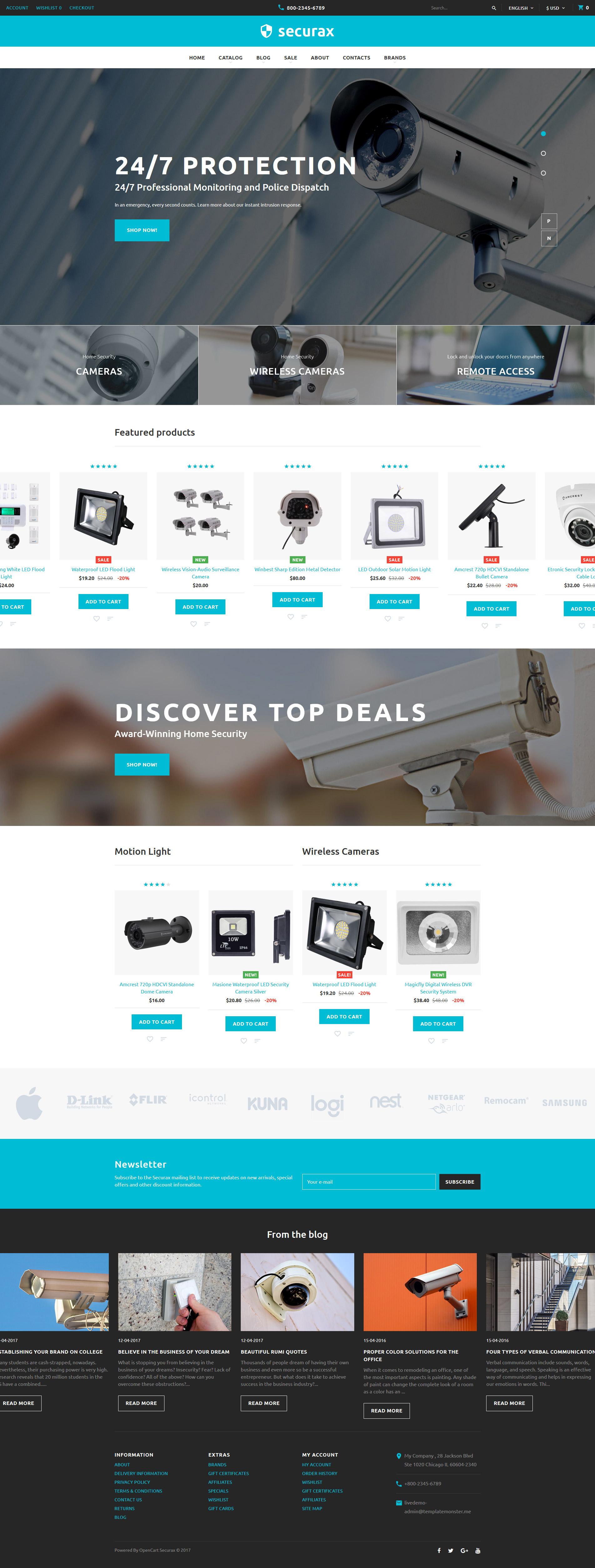 Securax - Security Equipment Store Responsive OpenCart Template - screenshot
