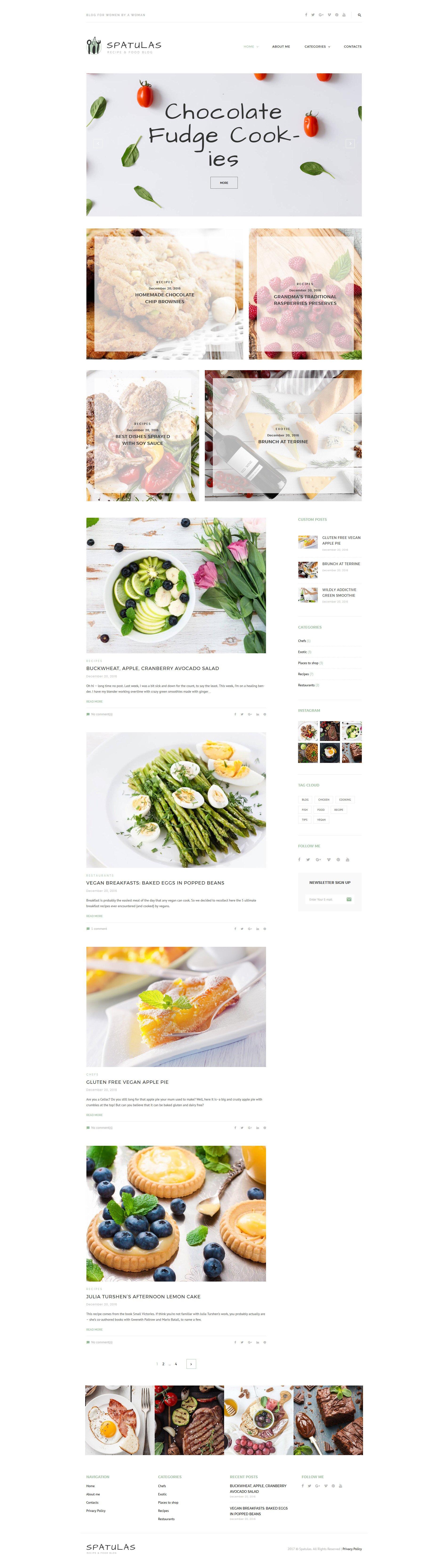 """Spatulas - Recipe & Food Blog"" 响应式WordPress模板 #63601"