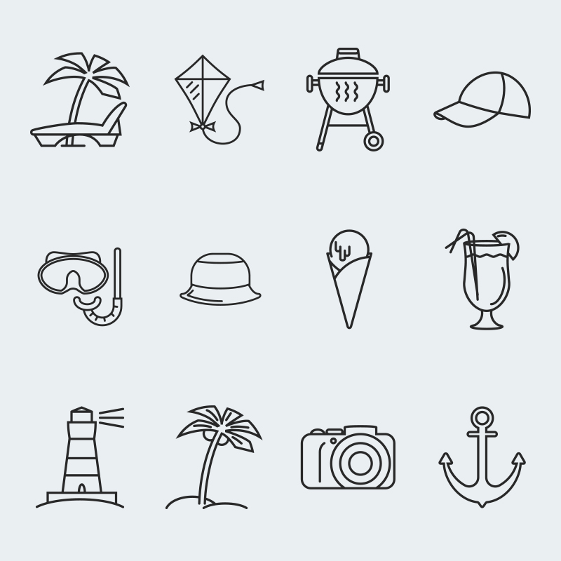 Summer Vector Iconset Template