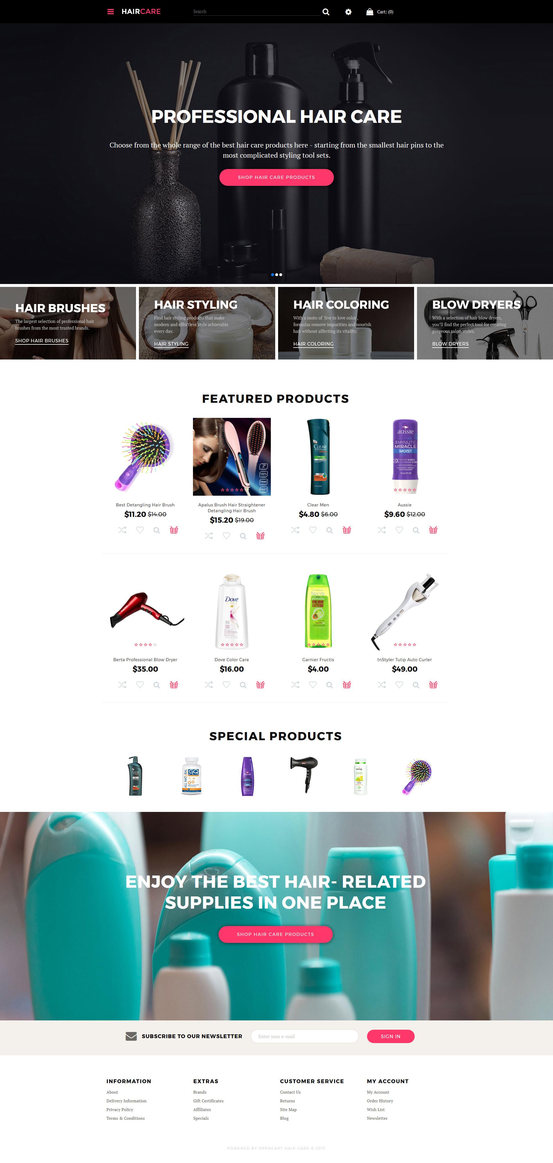 Template OpenCart Flexível para Sites de Salão de Beleza №63695