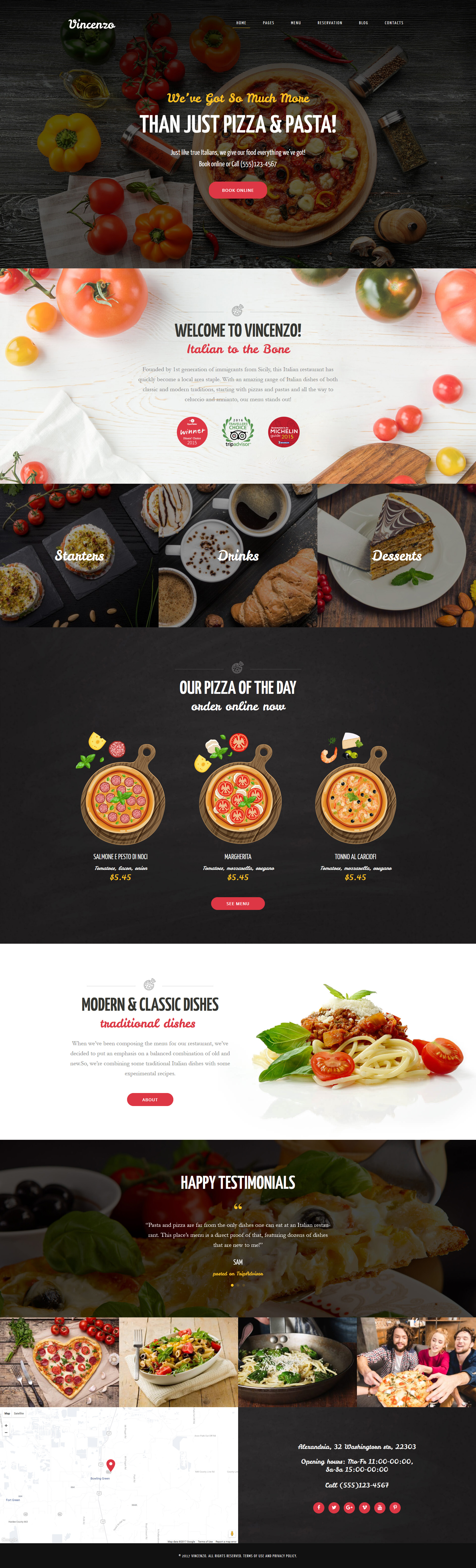 """Vincenzo - Delicious Pizza Restaurant Responsive"" 响应式WordPress模板 #63633"