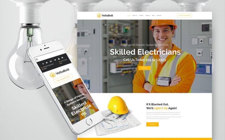 VoltaBolt - Electrician Services Responsive WordPress Theme WordPress Theme New Screenshots BIG