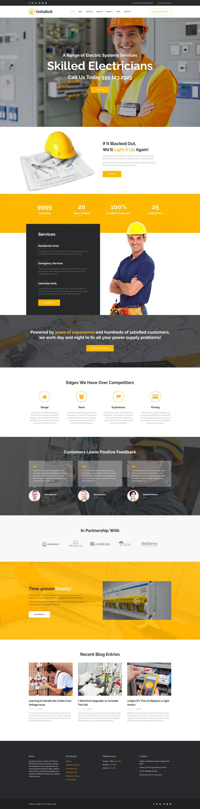 VoltaBolt - Electrician Services Responsive WordPress Theme WordPress Theme New Screenshots BIG