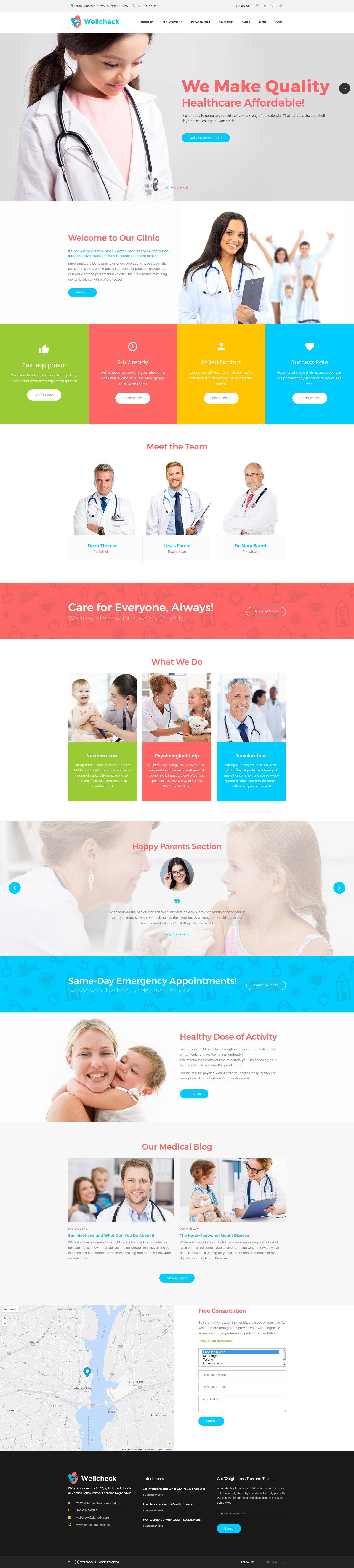 """Wellcheck - Pediatric Clinic"" - адаптивний WordPress шаблон №63691"