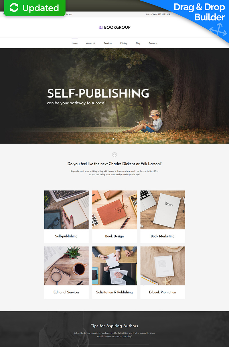 Website Design Template 63700 - publish publisher author press story novel fiction detective science