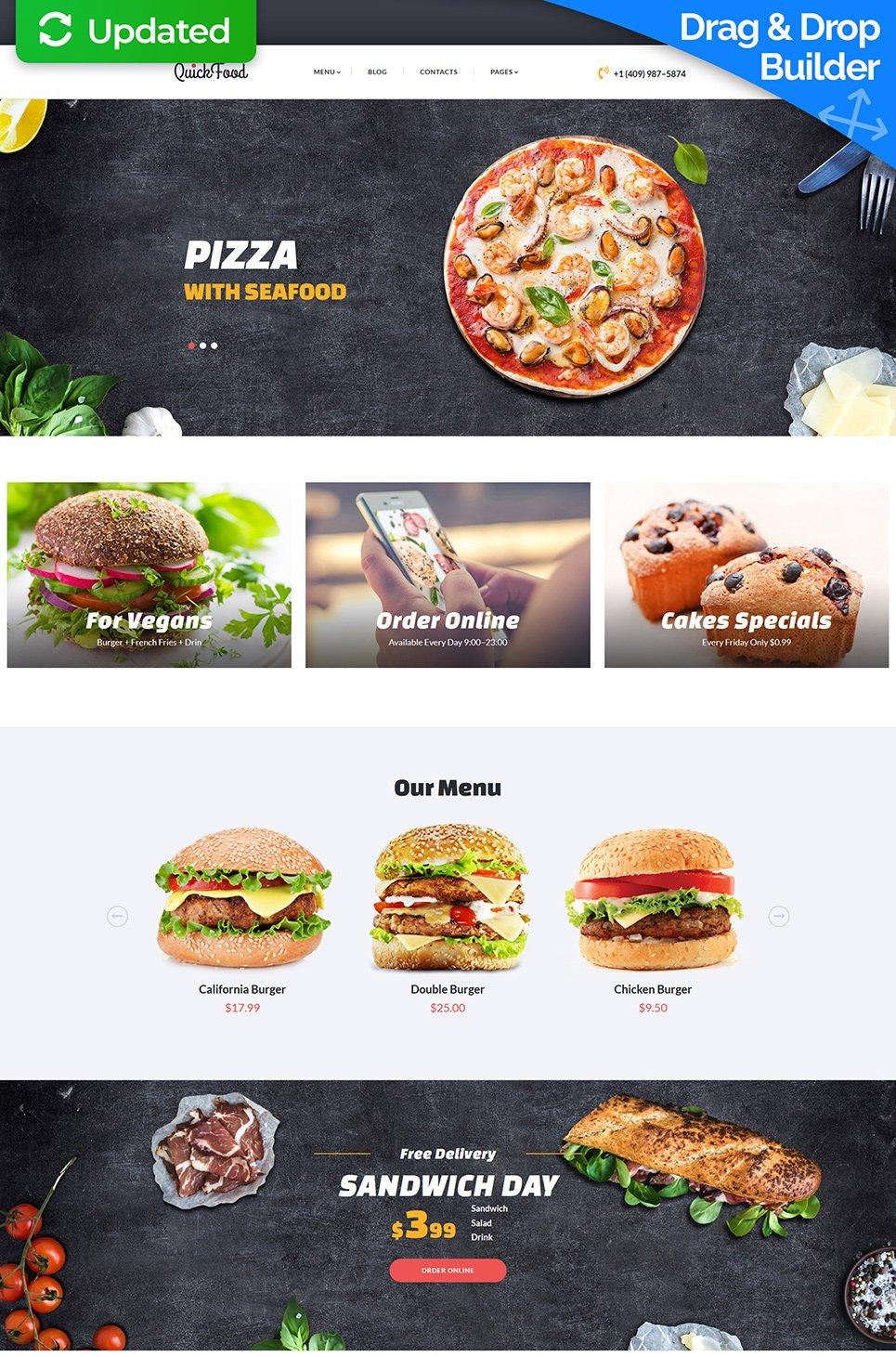 Plantilla MotoCMS ideal pizzería, fastfood, bar, restaurantes ...