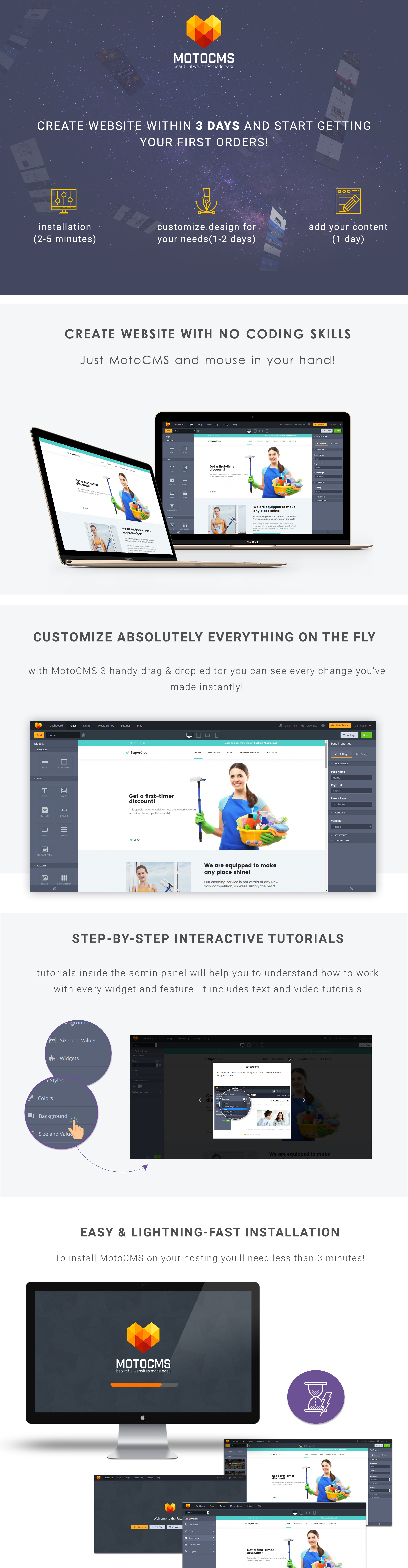 Cleaning Company  Responsive Moto CMS 3 Template